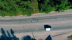 Aerial overlooking the highway with cars, trucks and other transport Stock Footage