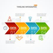 Infographic Timeline with Arrow. Horizontal. Vector Piirros