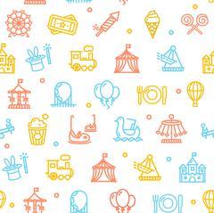 Amusement Park Background Pattern. Vector Stock Illustration