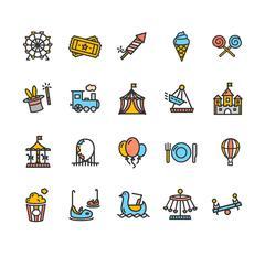 Amusement Park Outline Colorful Icon Set. Vector Piirros