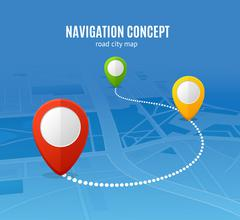 Navigation Concept Road City Map. Vector Stock Illustration
