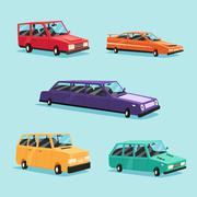 Set of vintage american automobile. Cartoon vector illustration. Car isolated. Stock Illustration