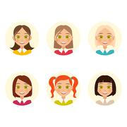 Womens faces. hair color and hairstyles. Vector Stock Illustration