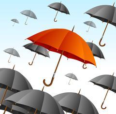 Red Umbrella on Black Fly High. Vector Stock Illustration