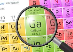 Gallium from Periodic Table of the Elements with magnifying glass Stock Illustration