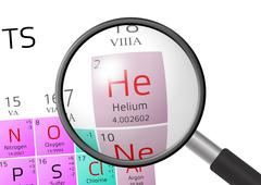 Helium from Periodic Table of the Elements with magnifying glass Stock Illustration