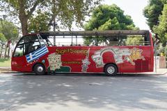 Thessaloniki, Greece - September 04 2016: Thessaloniki Sightseeing Hop-On bus. Stock Photos