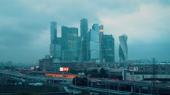 Timelapse sanrise Moscowcity Stock Footage