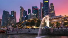 4K Singapore day to night time lapse. Singapore financial district Stock Footage