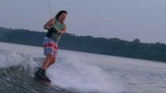 Smiley girl on wakeboard Arkistovideo