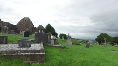 Old celtic cemetery graveyard in ireland 64 Stock Footage