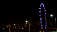 Timelapse Singapore Singapore Flyer with Lights (Night) Stock Footage