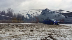 Car a drift on a sleet against the background of the helicopter slow motion Stock Footage