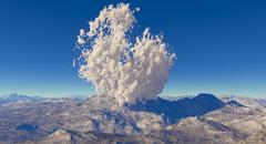 Fractal mountain landscape withe eruption volcano Stock Illustration