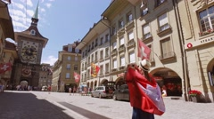 Tourist Woman Taking Photographs in Bern, Switzerland. 4K Steadicam shot Stock Footage