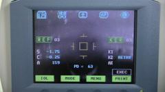 Modern automated machine examining eyeball. Eye examination test on a Stock Footage