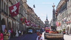 View of The Kramgasse in Summer. Bern, Switzerland. SLOW MOTION 120 fps Stock Footage
