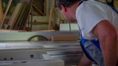 Chiseling a piece of wood in a workshop Stock Footage