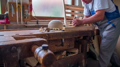 A joiner is crafting wood in a joiner shop Stock Footage