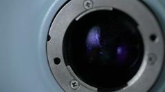 Modern automated medical machine examining eyeball. Eye examination test on a Stock Footage