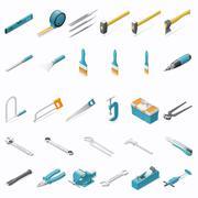 Building hand tools icon set Stock Illustration