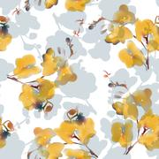 Watercolor imitation tropical orchid flower seamless pattern. Vector Stock Illustration