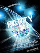 Vector Disco Party Flyer Design with  ball on shiny background. Eps10 Piirros