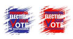 USA presidential election poster. Brush strokes background Stock Illustration