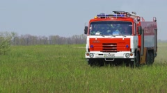 Panning shot of arriving fire engine during a training at Boryspil International Stock Footage