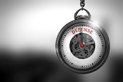 Defense on Pocket Watch. 3D Illustration Stock Illustration