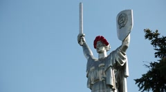 Mother Motherland - monumental statue in Kiev, the capital of Ukraine Stock Footage
