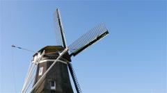 Rotate head of historic windmill Stock Footage