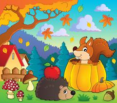Autumn nature theme image - eps10 vector illustration. Stock Illustration