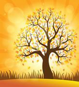 Autumn tree theme image - eps10 vector illustration. Stock Illustration