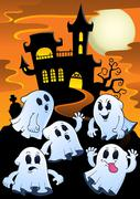 Ghosts near haunted house theme - eps10 vector illustration. Stock Illustration