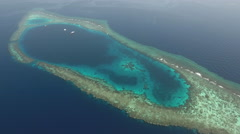 Aerial view of tropical coral reef, atoll - Shaab Rumi, Red Sea, Sudan Stock Footage