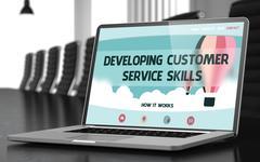 Developing Customer Service Skills Concept on Laptop Screen. 3D Illustration Stock Illustration