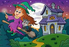 Cute witch on broom near haunted house - eps10 vector illustration. Stock Illustration