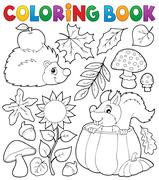 Coloring book autumn nature theme - eps10 vector illustration. Stock Illustration