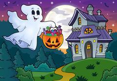 Halloween ghost near haunted house - eps10 vector illustration. Piirros