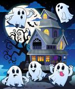 Ghosts near haunted house theme - eps10 vector illustration. Piirros