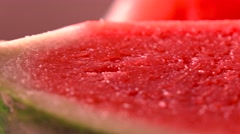 Juicy watermelon closeup 4K pan shot Stock Footage
