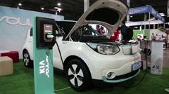 White KIA Soul EV electromobile Stock Footage