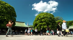 Tokyo -  Meiji Shrine with beautiful trees and visitors. 4k resolution time laps Stock Footage