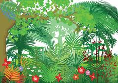 Dense Jungle, Nature landscape with trees Stock Illustration