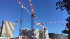 Huge Tower Cranes In Urban Zone Stock Footage