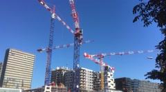 Huge Tower Cranes In Urban Zone Stock Footage