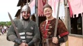 Two warriors in armours with swords, Kyivan Rus park, Kopachiv village, Ukraine Footage
