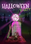 Halloween vector illustration Zombie pulls hand to the Discoball. Invitation to Piirros