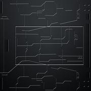 Scifi wall. carbon fiber wall and circuits. metal background Stock Illustration